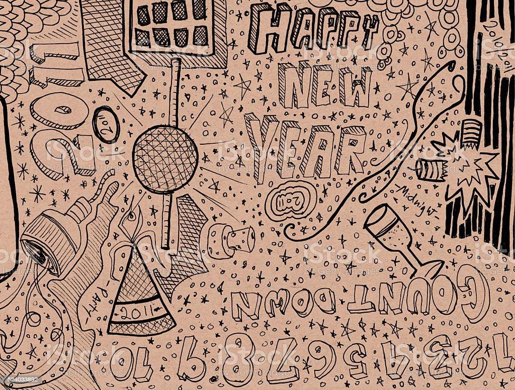 Happy New Year Doodle stock photo