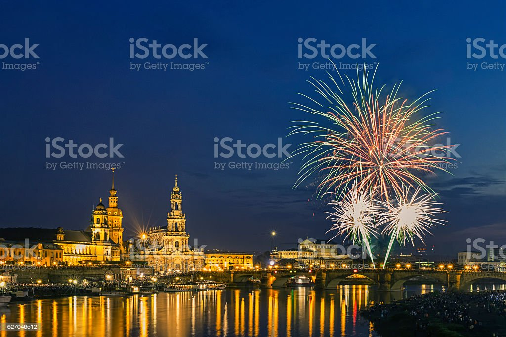 Happy new year - Dresden Fireworks stock photo