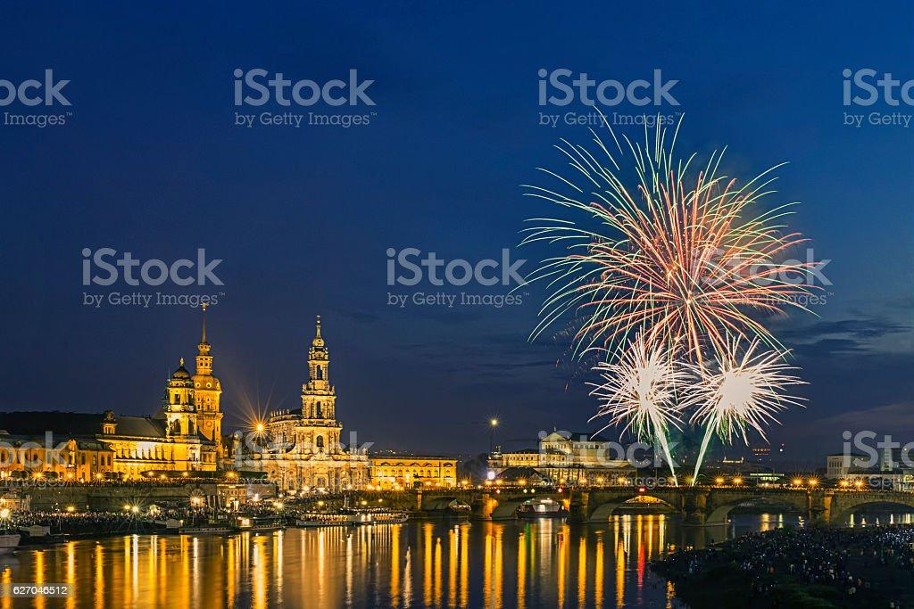 Happy new year - Dresden Fireworks stock photo