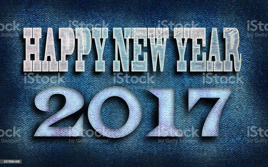 2017 Happy New Year from jeans texture background stock photo