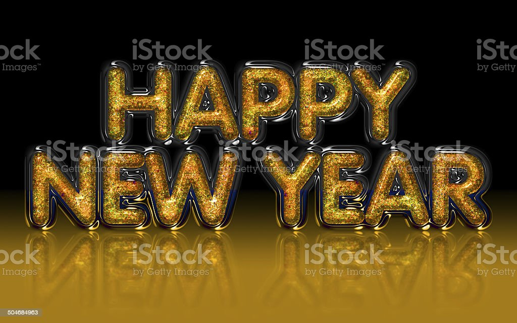 Happy New Year gold glitter, glass, diamond effect royalty-free stock photo