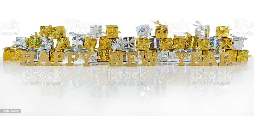Happy New Year golden text and golden and silver gifts stock photo
