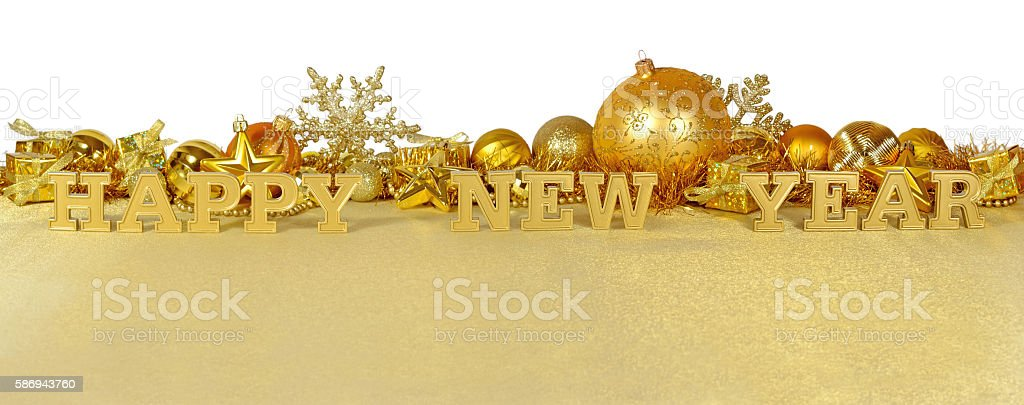 Happy New Year golden text and golden Christmas decorations stock photo