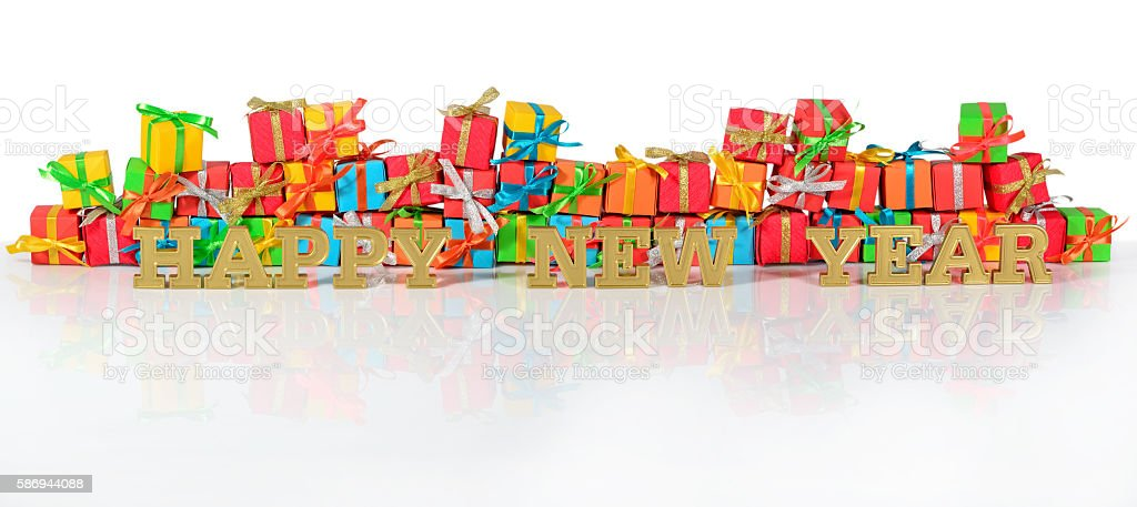 Happy New Year golden text and varicolored gifts stock photo