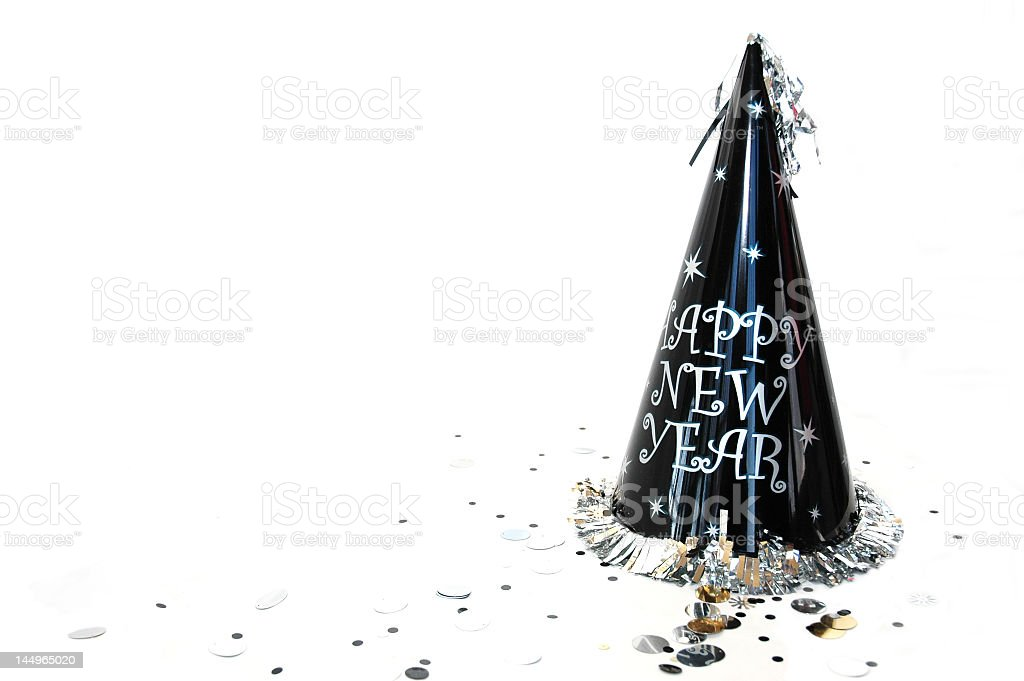 Happy new year hat on white background royalty-free stock photo