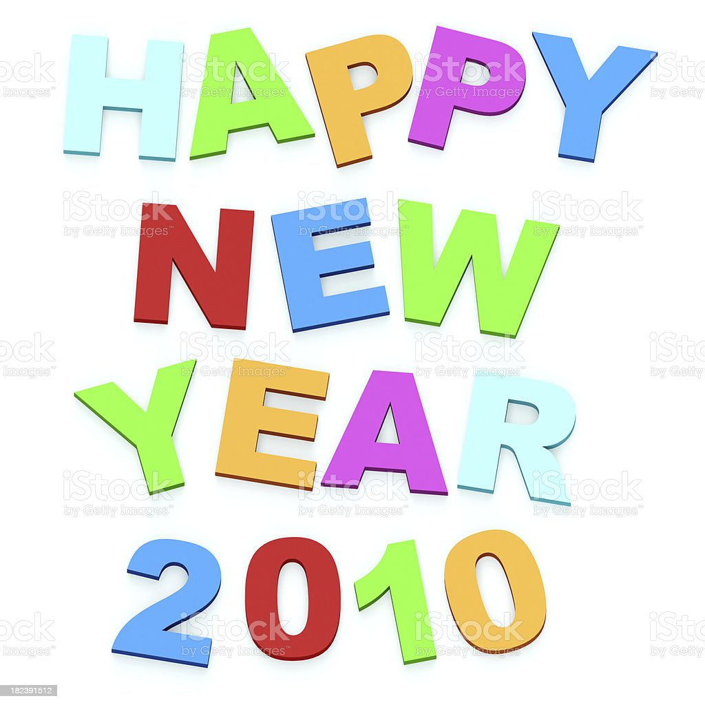 3D Happy new year in magnet royalty-free stock photo