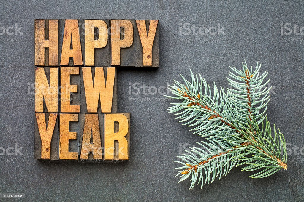 Happy New Year in wood type stock photo