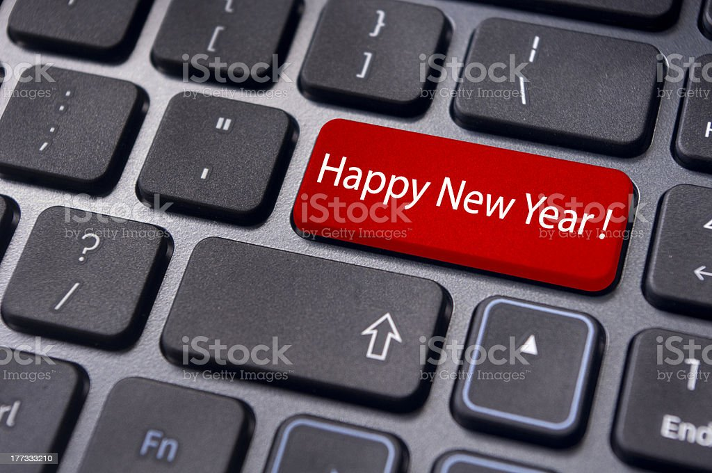 happy new year message, keyboard enter key royalty-free stock photo