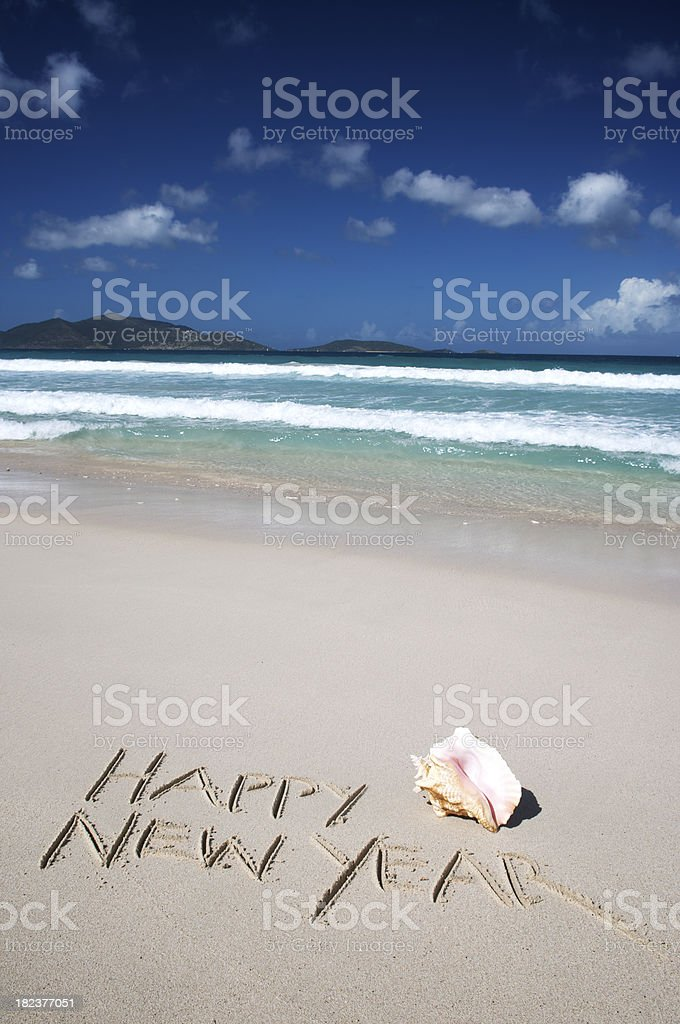 Happy New Year Message with Shell on Tropical Shore royalty-free stock photo