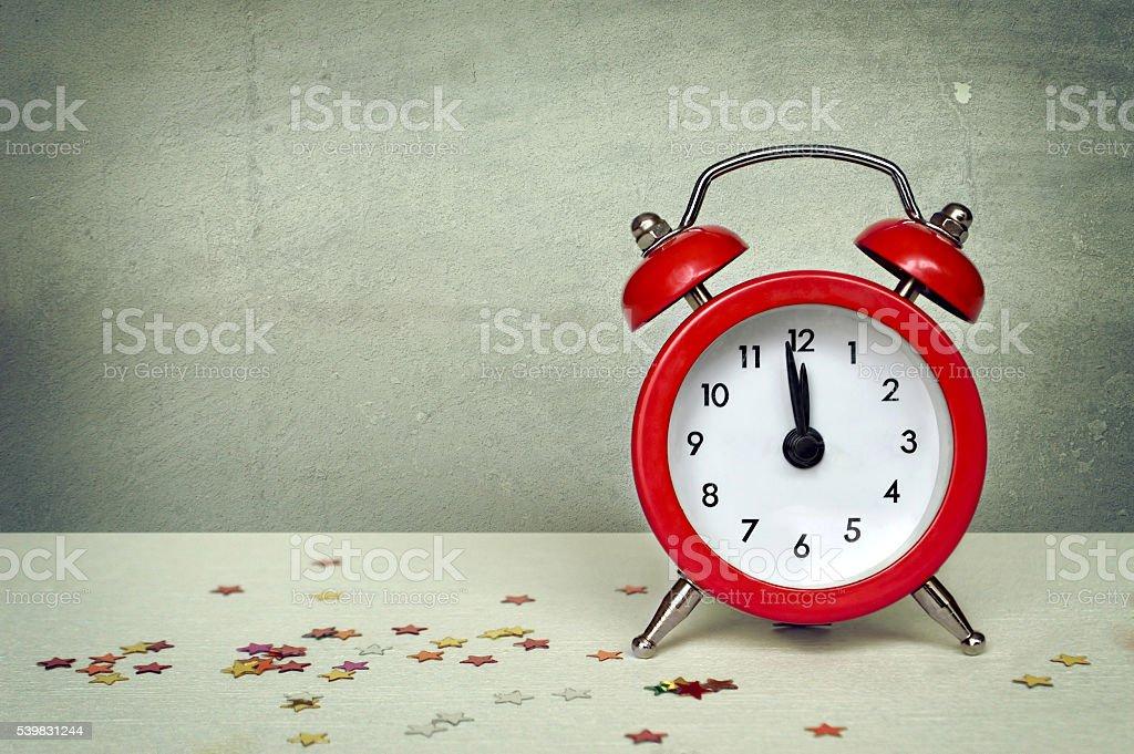 Happy New Year: Midnight clock stock photo