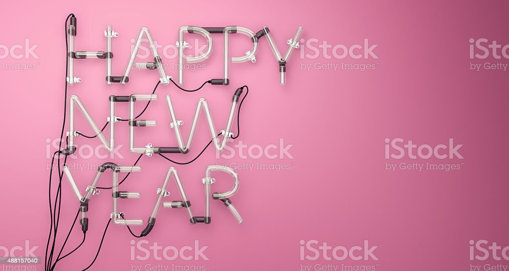 Happy New Year Neon Light Pink 3D stock photo