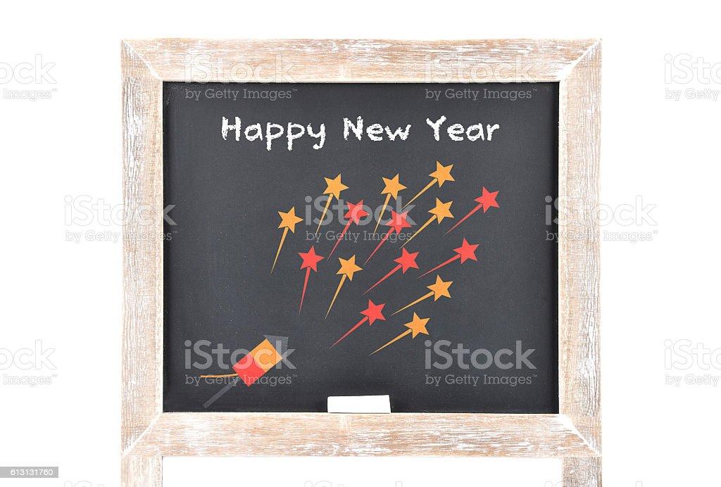 Happy New Year on blackboard stock photo