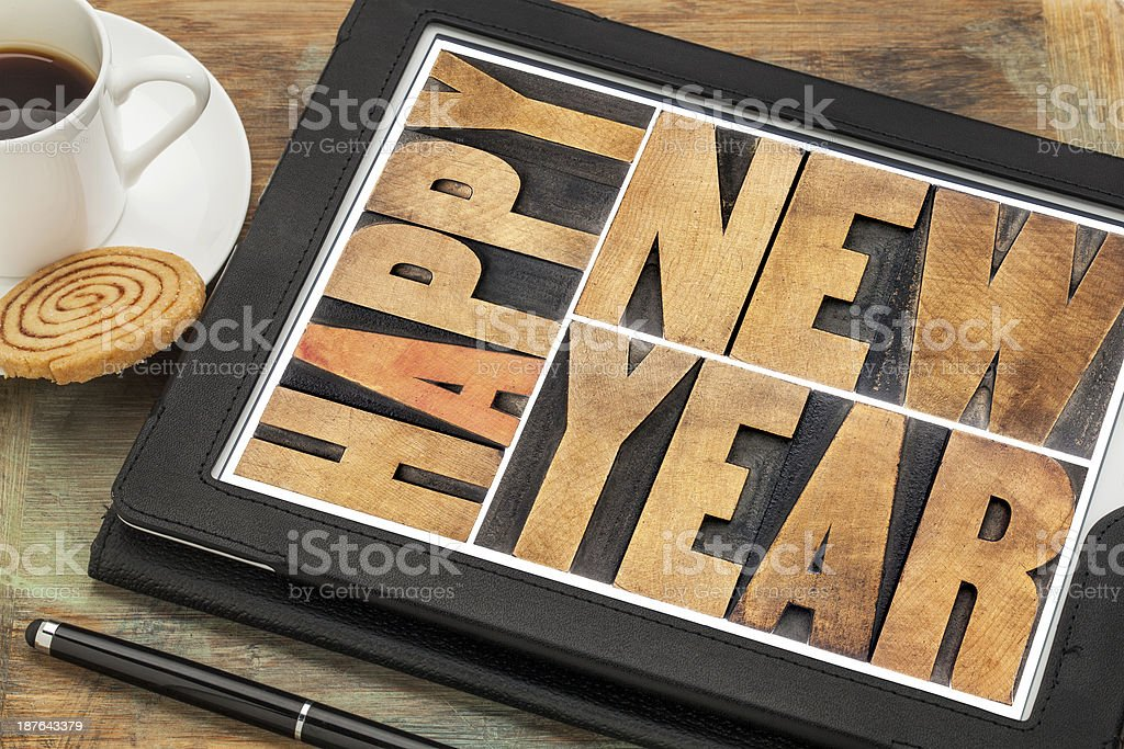 happy new year on digital tablet royalty-free stock photo
