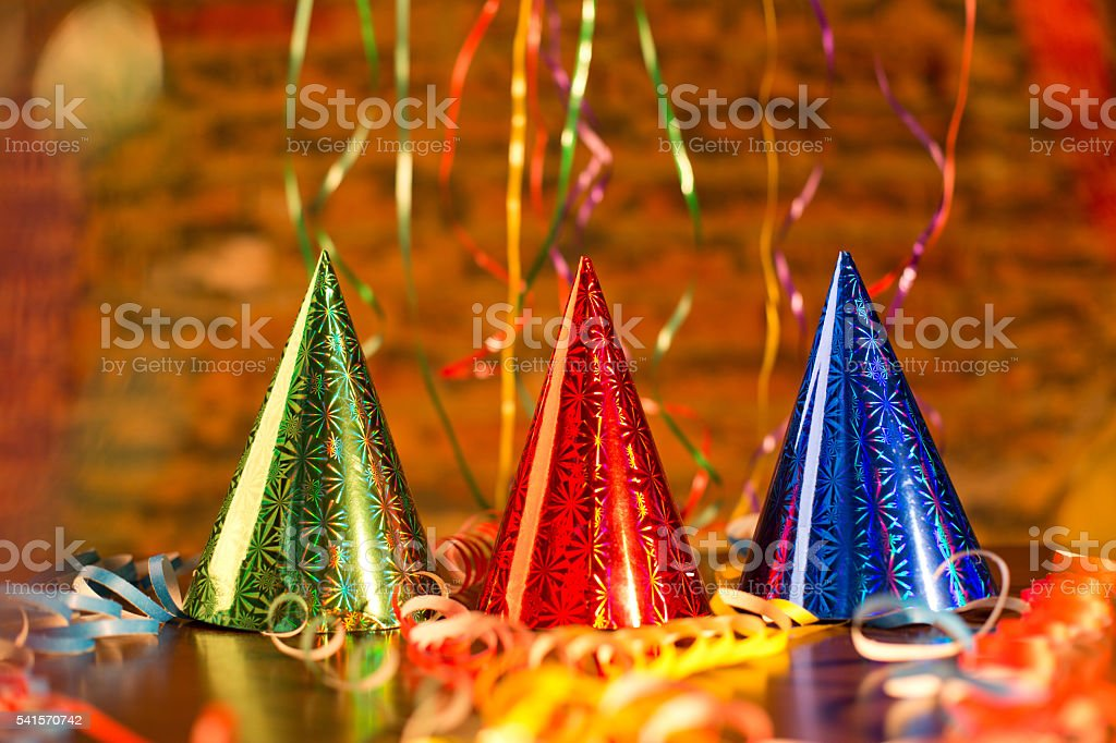 Happy New Year party hat, cone-shaped. stock photo