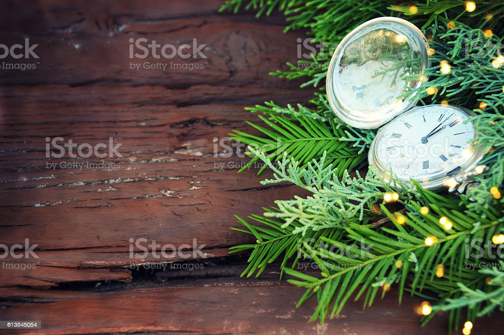 Happy New Year pocket fob watch stock photo