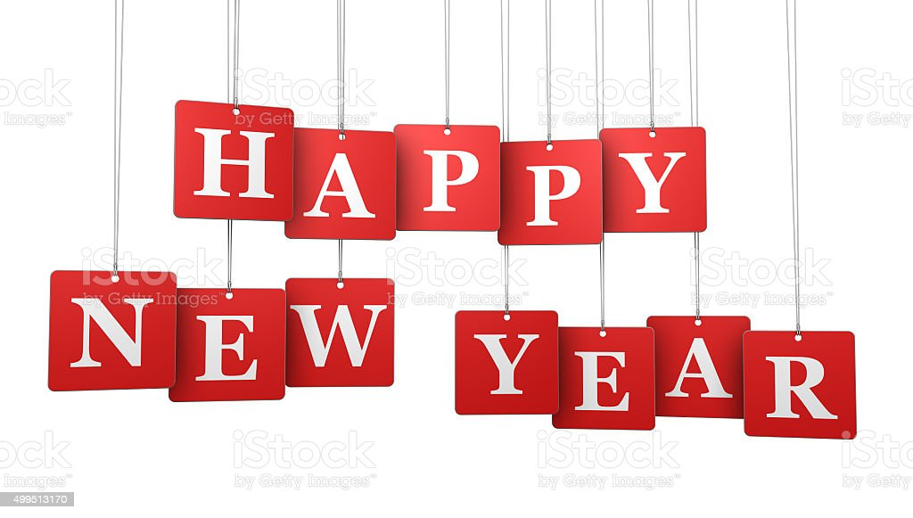 Happy New Year Tags stock photo