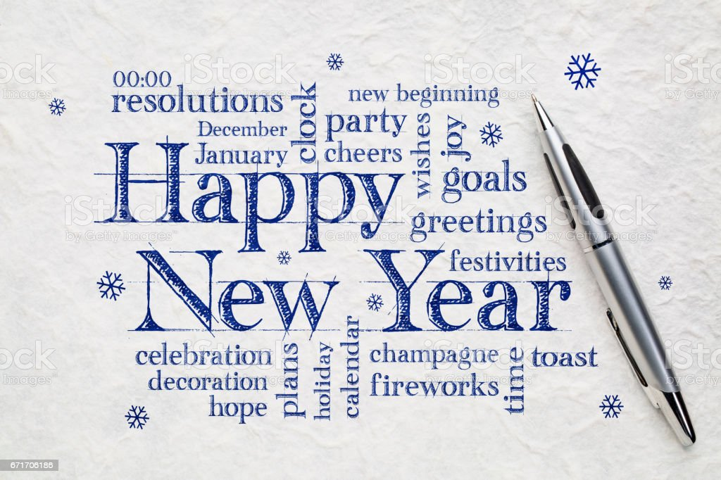 Happy New Year word clouid stock photo