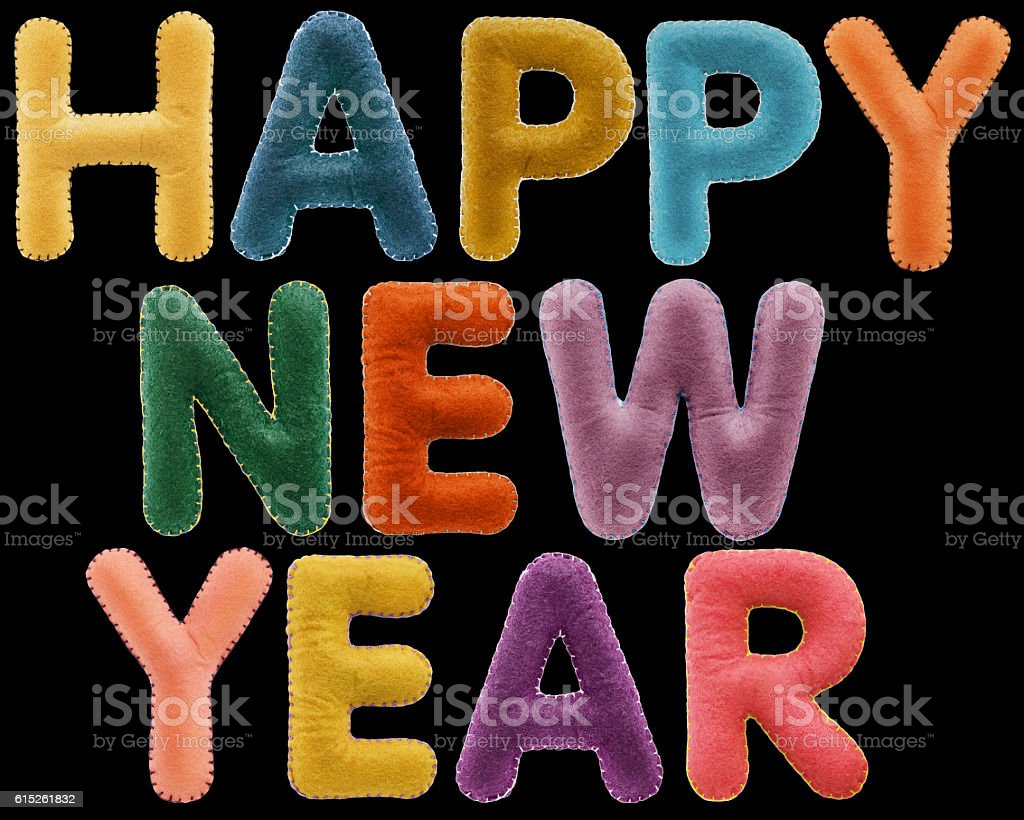 Happy New Year words isolated on black background. stock photo