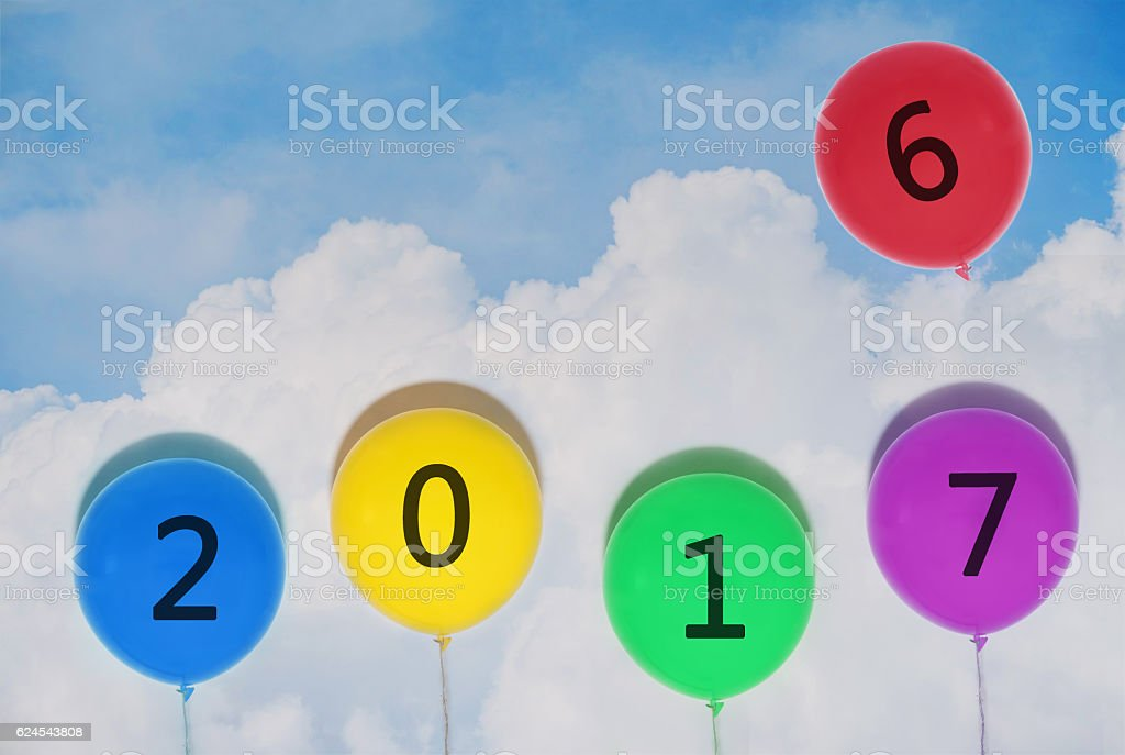 Happy New Years 2017 balloons. year changes balloon stock photo