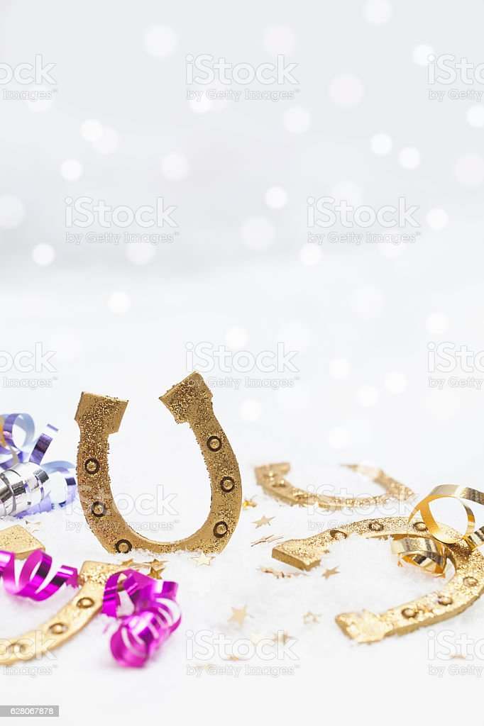 Happy New Years Greetings in Snow stock photo