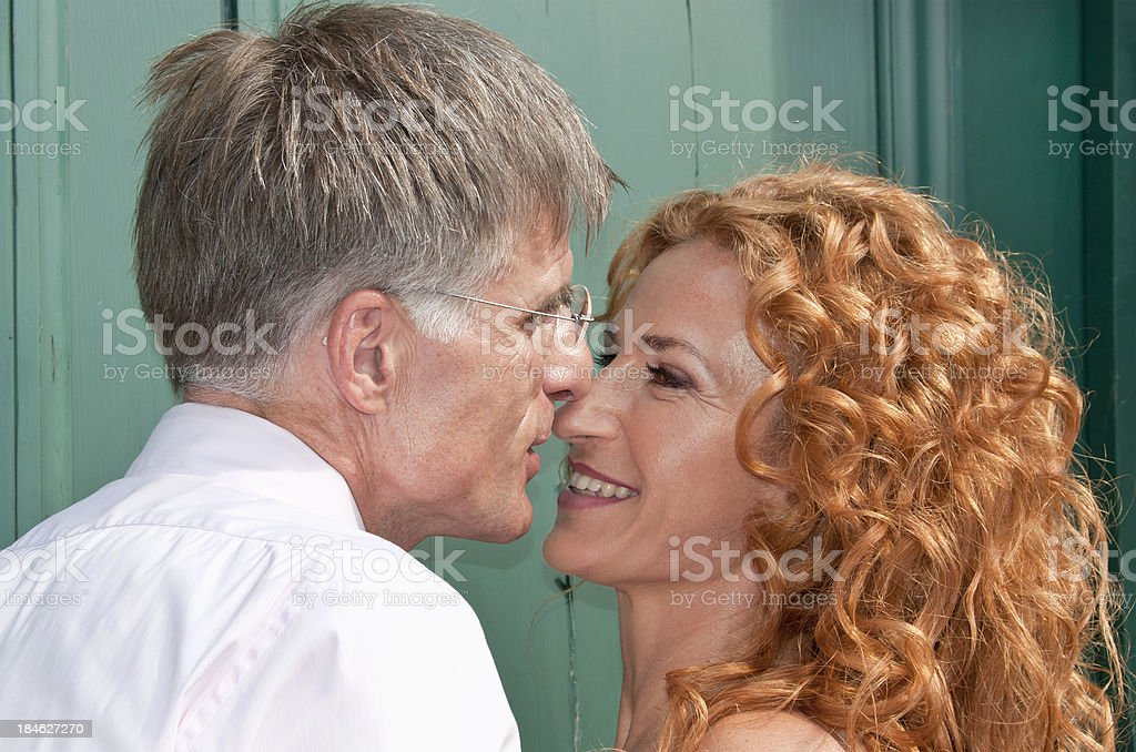 Happy newlywed couple right after marriage royalty-free stock photo
