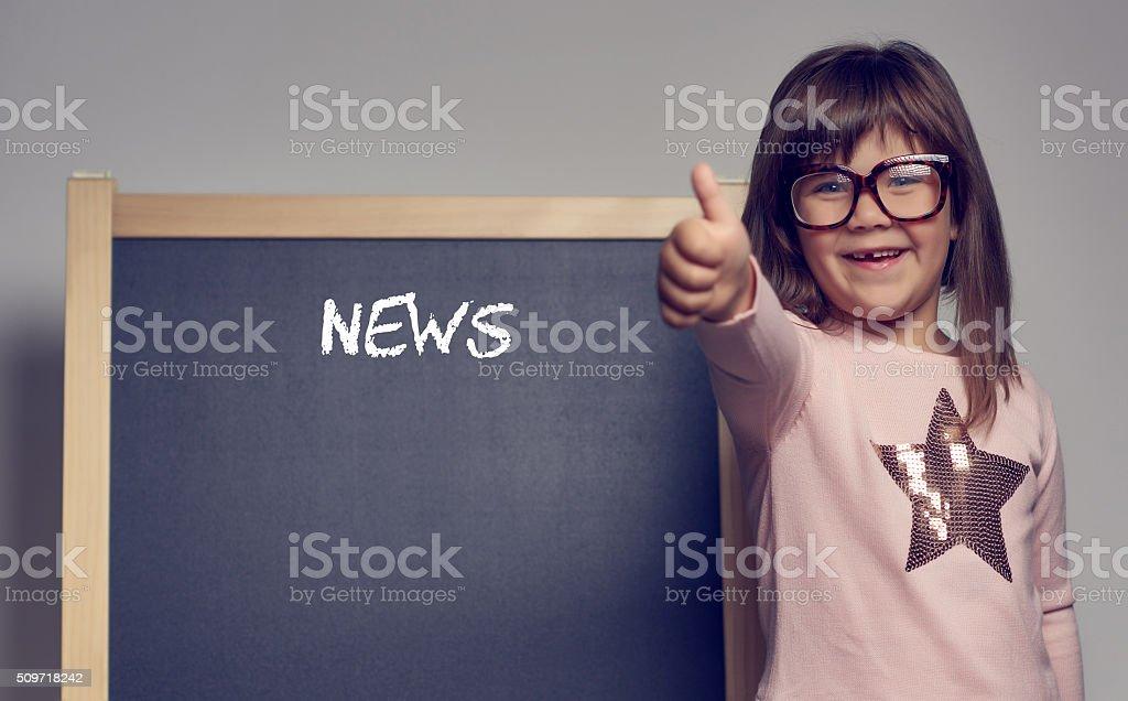 happy news from nerd girl stock photo