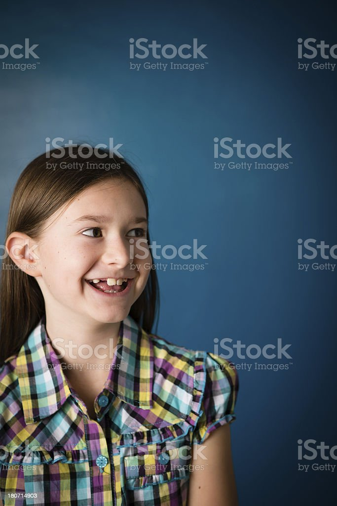 Happy Nine Year Old Girl, With Copy Space royalty-free stock photo