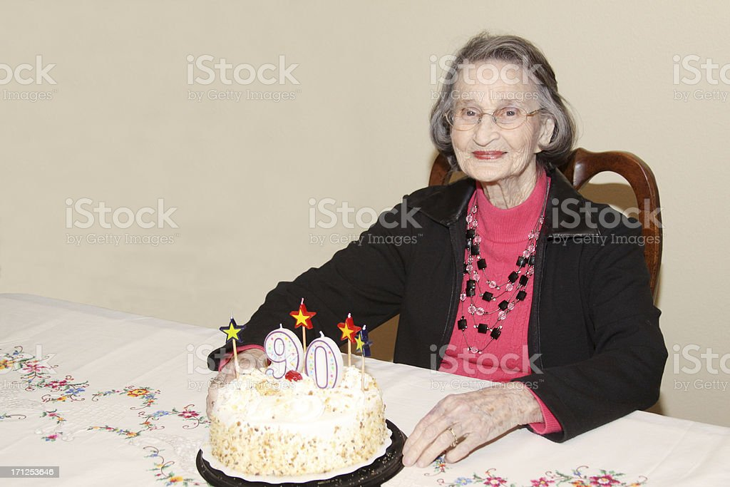 Happy Ninety-Year-Old Woman Celebrating Her Birthday royalty-free stock photo