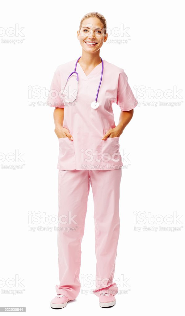 Happy Nurse Standing With Hands In Pockets stock photo
