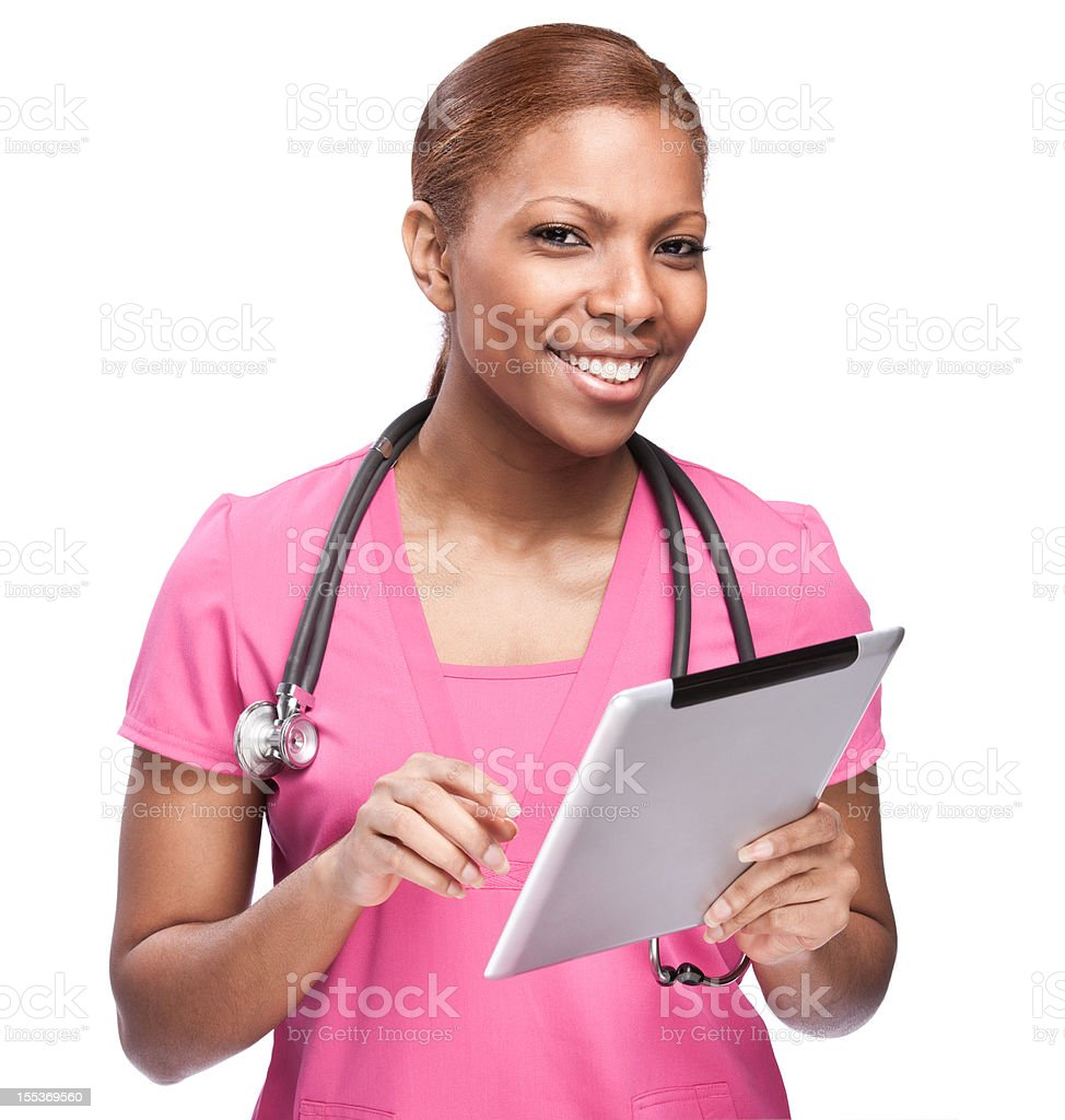 Happy Nurse with Tablet Computer stock photo