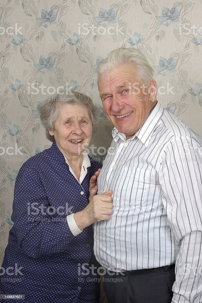 happy old couple laugh royalty-free stock photo