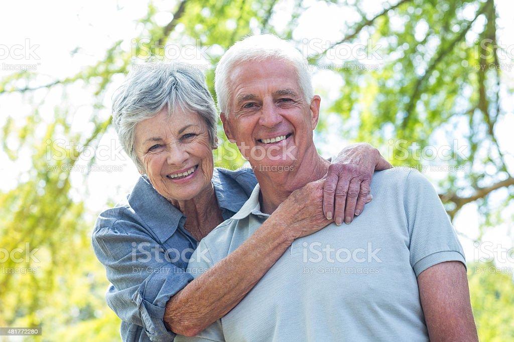 Happy old couple smiling stock photo