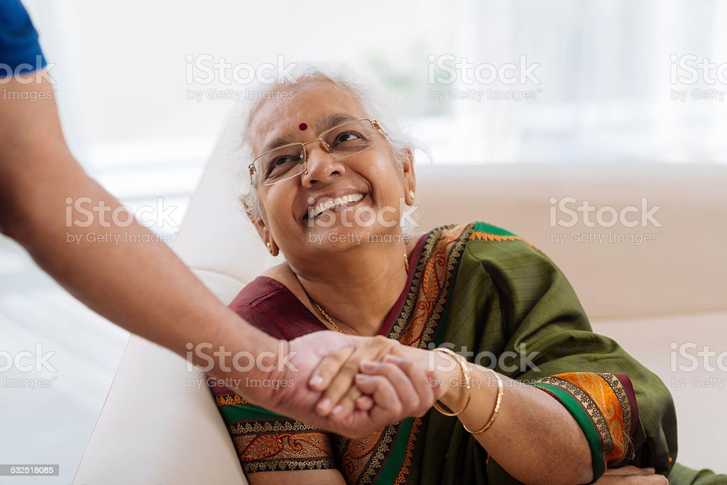 Happy old lady stock photo