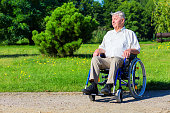 happy old man on wheelchair in the park