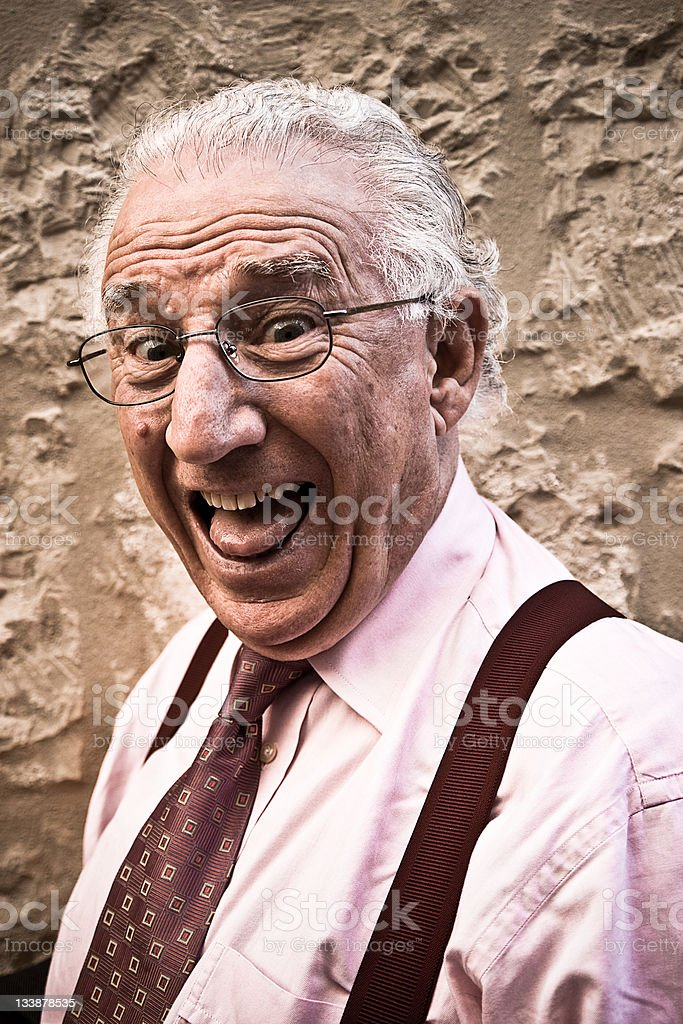 Happy Old Real Man Screaming Portrait royalty-free stock photo