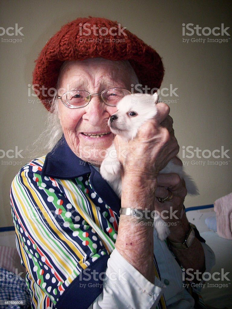 Happy old woman hugging a small dog stock photo
