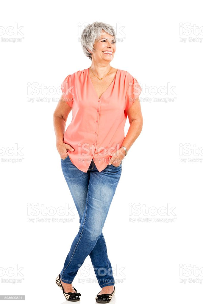 Happy old woman stock photo
