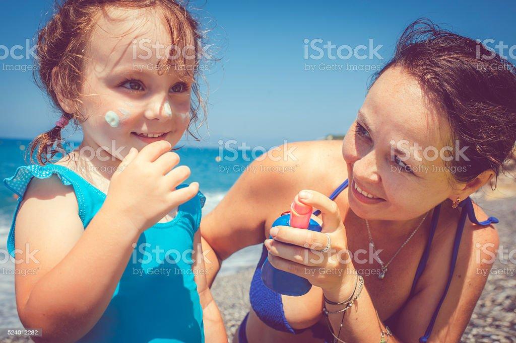 Happy on the beach stock photo