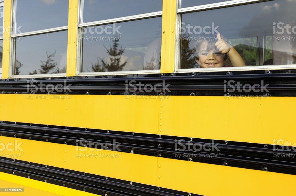 Happy on the school bus royalty-free stock photo