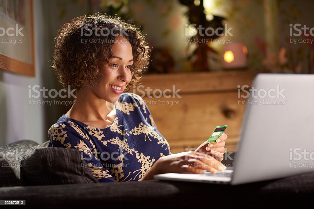 happy online shopper stock photo