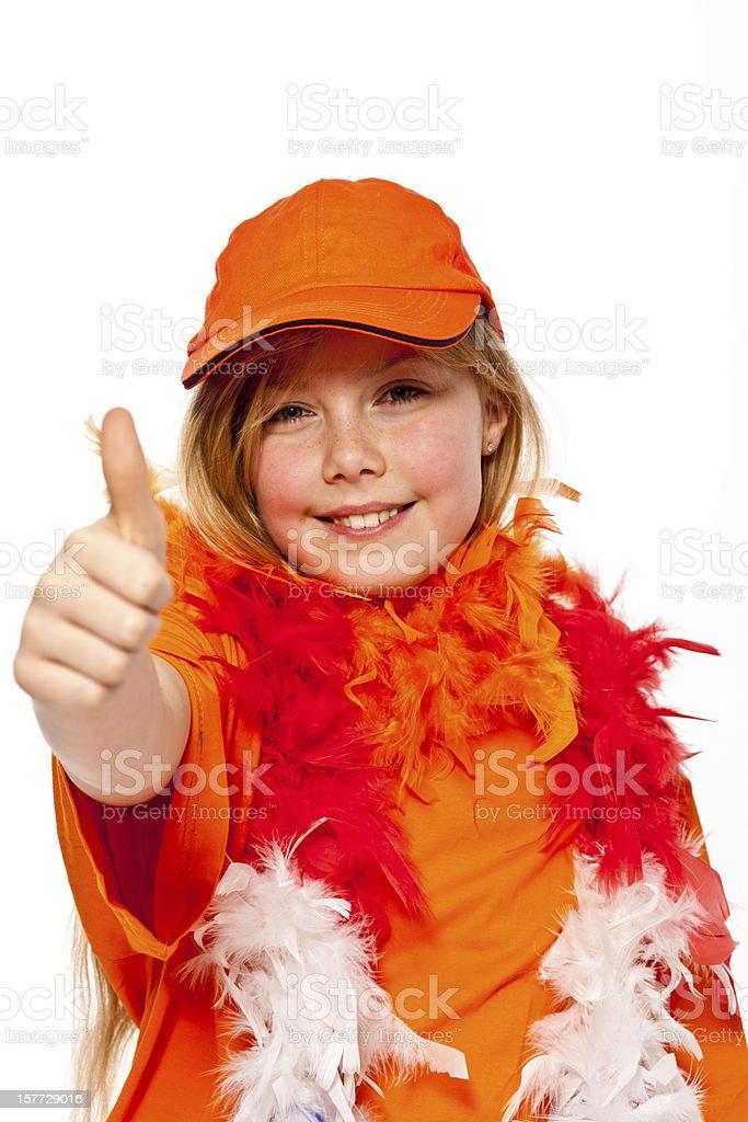 Happy orange fan royalty-free stock photo