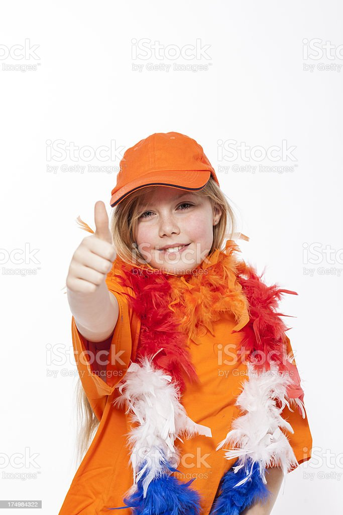 Happy orange fan royalty-free stock photo