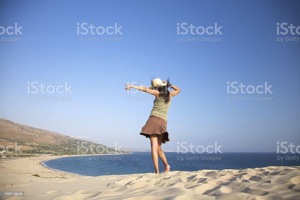 happy over Valdevaqueros beach royalty-free stock photo