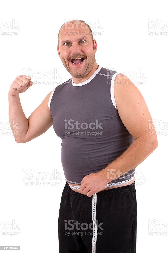 Happy overweight man royalty-free stock photo