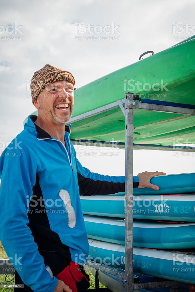 Happy Paddleboarder stock photo
