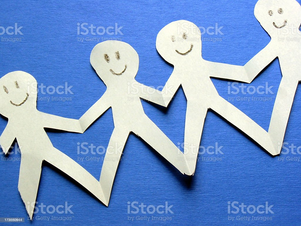 Happy Paper People royalty-free stock photo