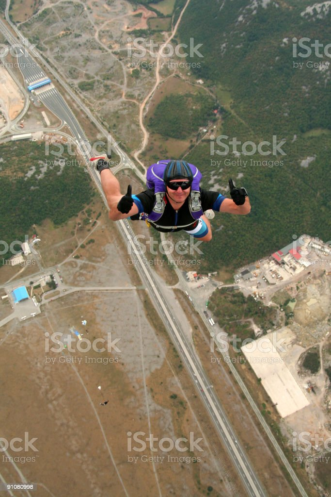 Happy parachutist royalty-free stock photo