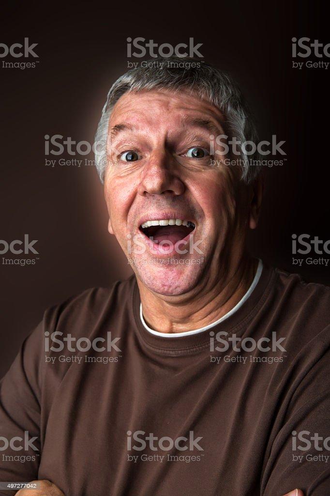 Happy pensioner stock photo