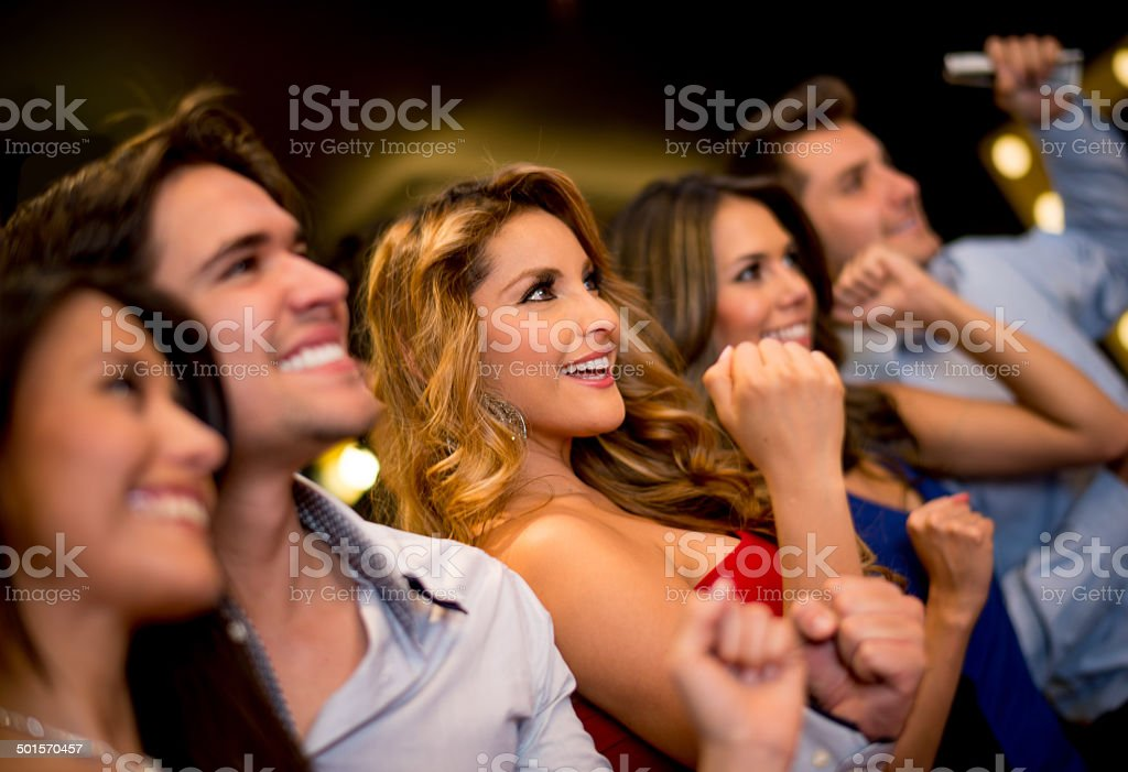 Happy people at the Casino stock photo