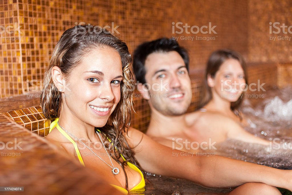 Happy people relaxing in a spa royalty-free stock photo